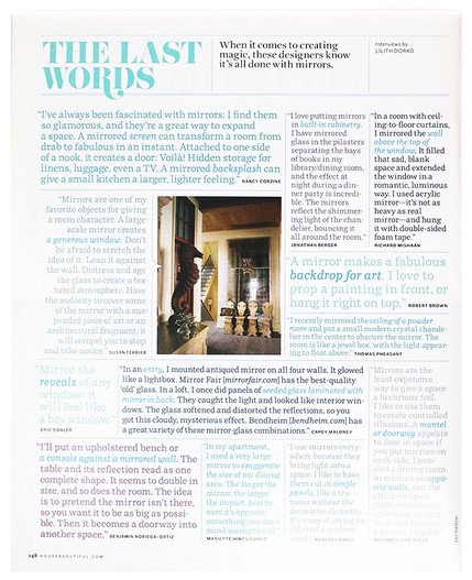 House Beautiful features Jonathan Berger's views about using mirrors