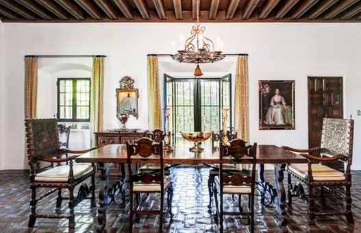 Dining room of Prindle House designed by George Washington Smith in Pasadena California. Staged by Jonathan Berger Interior Design