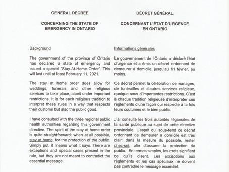 GENERAL DECREE / DÉCRET GÉNÉRAL   State of Emergency in Ontario / L'état D'urgence en Ontario Pg 1