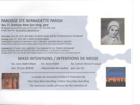 Intentions de messe / juin 26-27, 2021 / Mass Intentions June 26-27, 2021