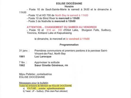 ÉGLISE DIOCÉSAINE / HORAIRE                 31 janvier et 7 février / 2021