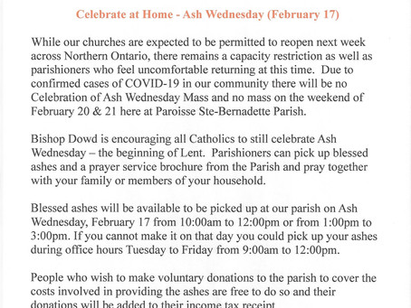 Celebrate Ash Wednesday at Home                                       Don't Skip The Ashes !