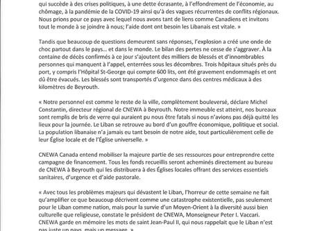 CNEWA Canada fait campagne pour des fonds d'urgence au Liban