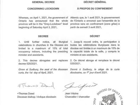 General Decree Concerning Lockdown               Décret Général à Propos du Confinement