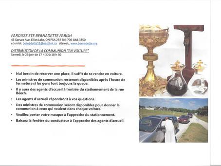 """Distribution de la communion """"en voiture""""         Samedi, le 26 juin de 17h30 à 18h30"""
