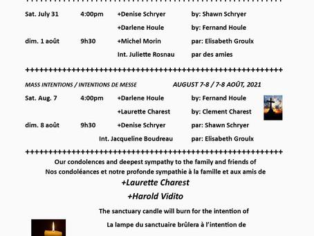 Bulletin July 31 & August 1 / 31 juillet & 1 août 2021 pg2