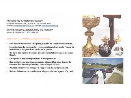 """DISTRIBUTION DE LA COMMUNION """"EN VOITURE"""" / SAMEDI LE 3 JUILLET DE 17h30 - 18h30"""