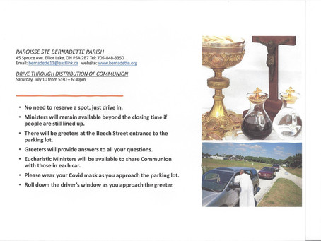 Drive Through Distribution of Communion Saturday July 10 from 5:30 - 6:30pm