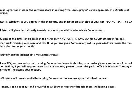 Drive Through Distribution of Communion