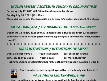 Mass Intentions July 17-18, 2021 / Intentions de messe 17-18 juillet, 2021
