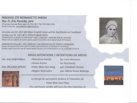 Mass Intentions July 3-4 2021 / Intentions de messe 3-4 juillet 2021