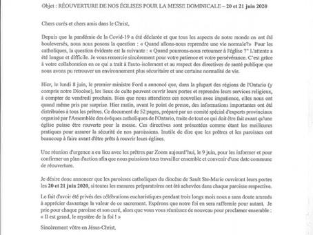 RÉOUVERTURE DE NOS ÉGLISES POUR LA MESSE DOMINICALE 20 et 21 JUIN