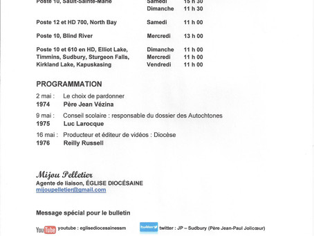 Église Diocésaine / Horaire 2-16 mai / 2021