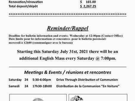 Bulletin July 31 & August 1 2021 / 31 juillet & 1 août 2021 pg3