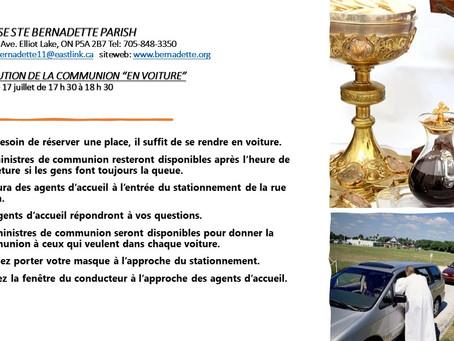 """Distribution de la Communion """"En Voiture"""" samedi le 17 juillet de 17h30 à 18h30"""