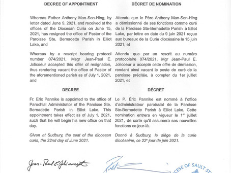 DECREE OF APPOINTMENT  JUNE 22, 2021 / DÉCRET DE NOMINATION / 22 JUIN, 2021