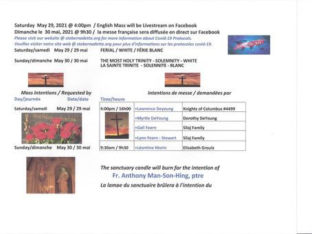 Mass Intentions / Intentions de messe                   May 29-30 / 29 et 30 de mai