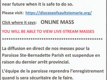 Live-Streaming of our Masses  /                         La diffusion en direct de nos messes