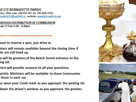 Drive Through Distribution of Communion Sat. July 17,2021 from 5:30-6:30pm
