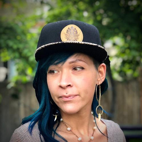 Faux Snakeskin Snapback Hat