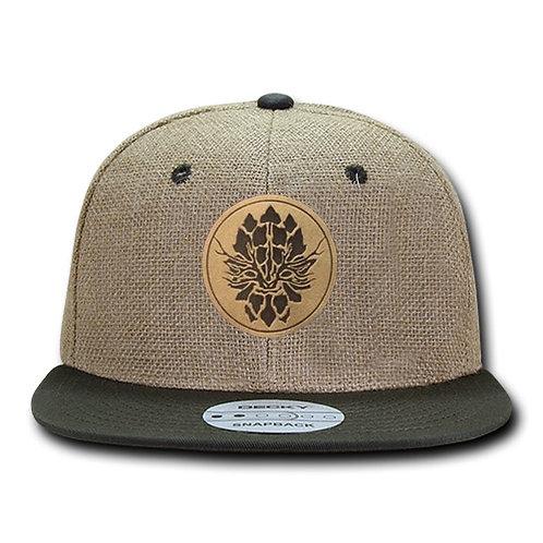 Olive Jute Snapback Hat