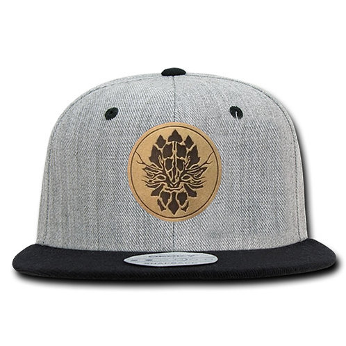 Heather Grey, Black Bill Snapback Hat