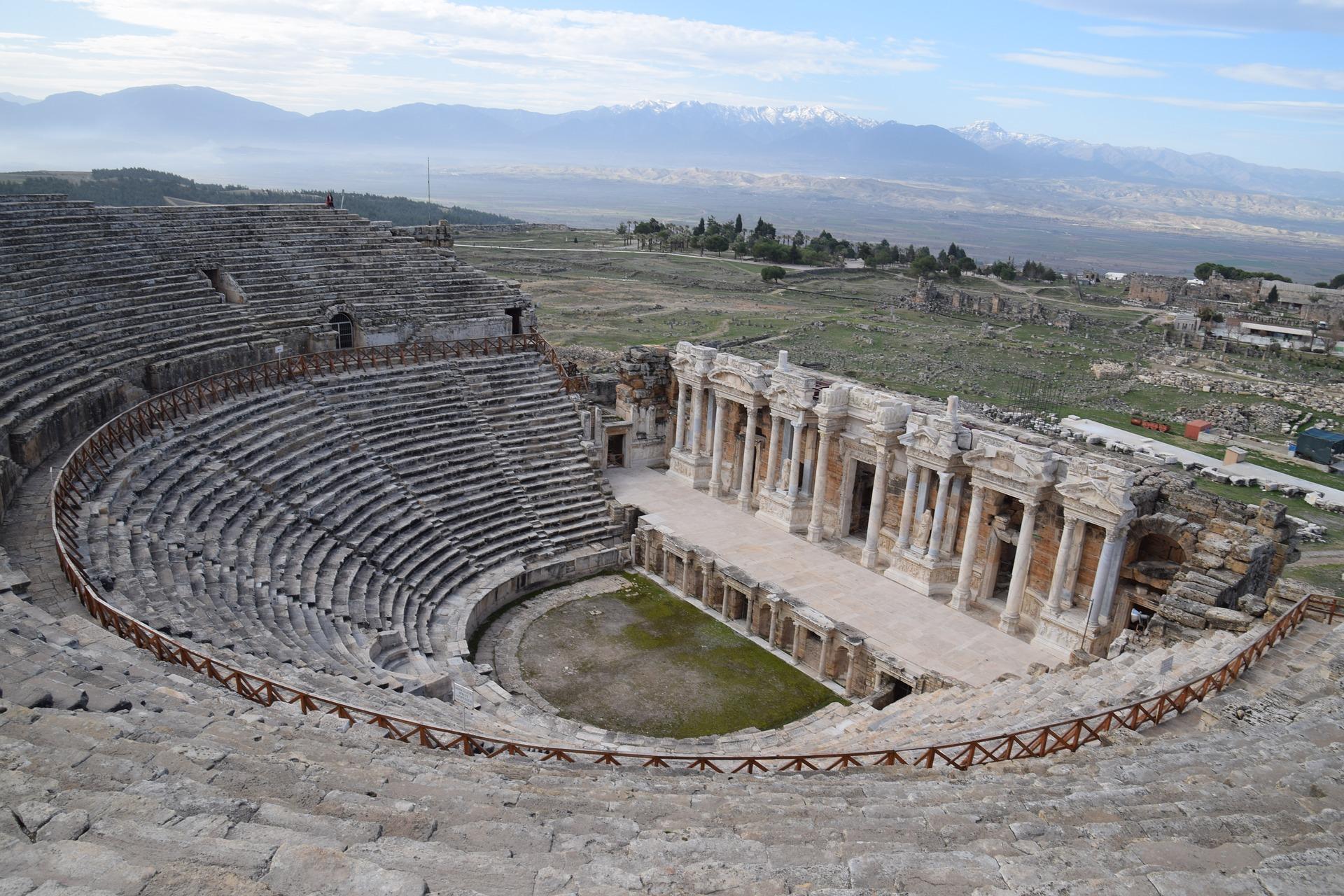 Hierapolis Theatre Ruin Turkey Stone Pamukkale-1282413_1920