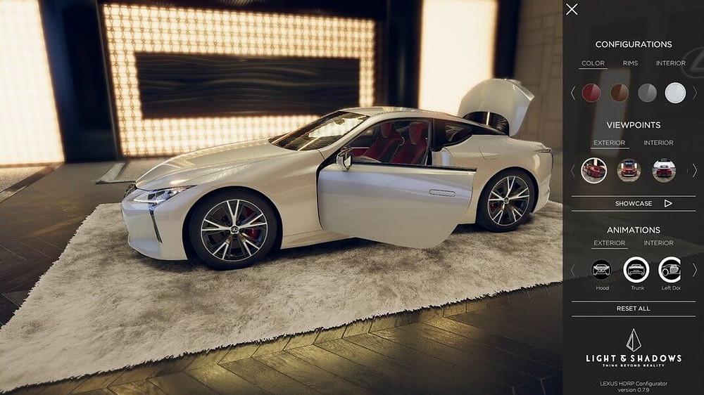 Lexus 3D car configurator by Light & Shadows