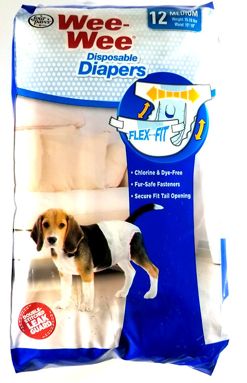 Four Paws Wee-Wee Disposable Diapers 12 Count