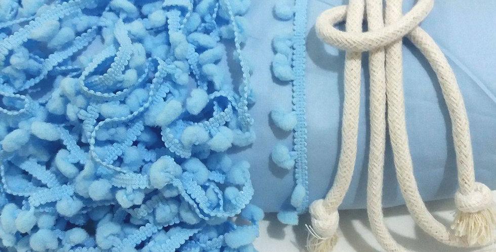 Rede Baby - Azul com Pompons Azul