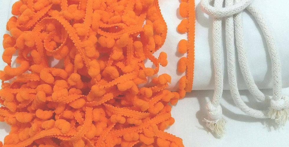 Rede Baby - Branca com Pompons Laranja