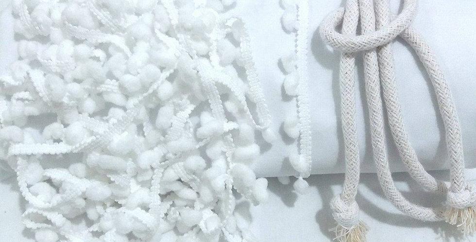 Rede Baby - Branca com Pompons Brancos