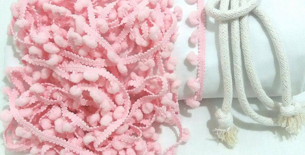 Rede Baby - Branca com Pompons Rosa