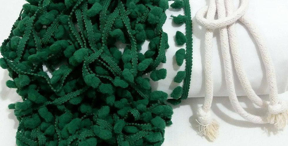 Rede Baby - Branca com Pompons Verde Bandeira