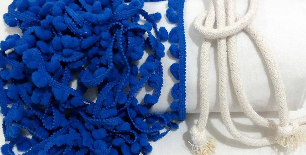 Rede Baby - Branca com Pompons Azul Royal