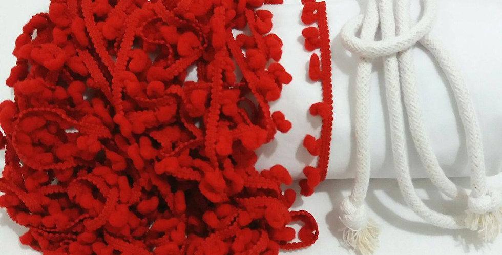 Rede Baby - Branca com Pompons Vermelhos