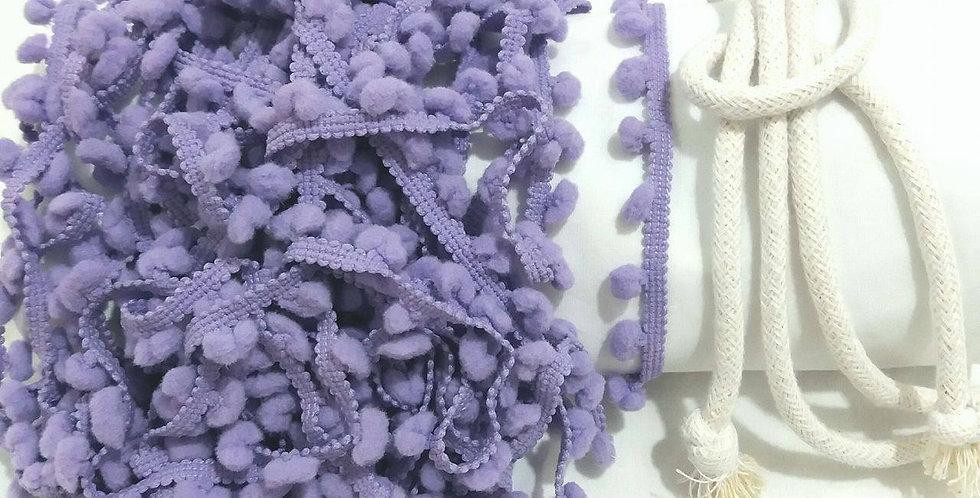 Rede Baby - Branca com Pompons Lilás
