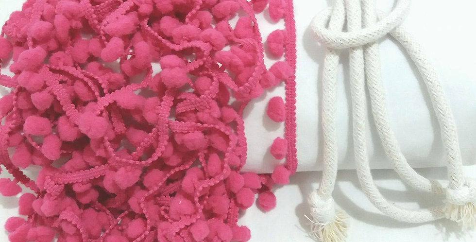 Rede Baby - Branca com Pompons Rosa Pink