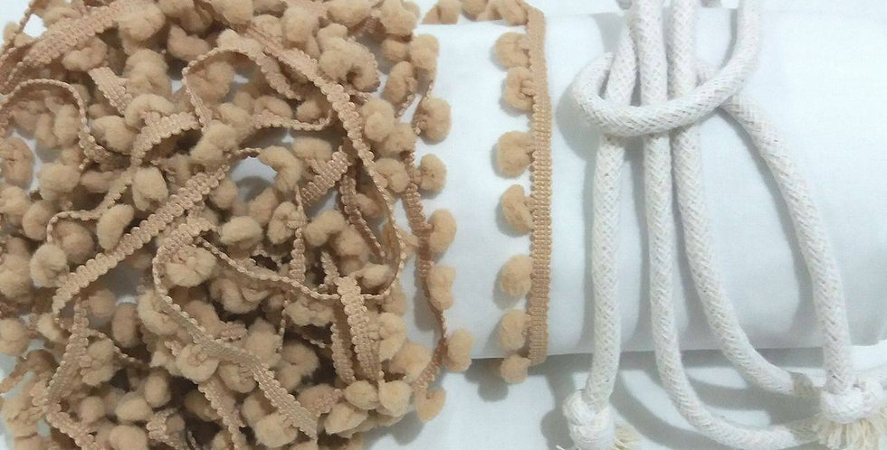Rede Baby - Branca com Pompons Bege