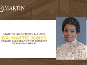 Martin University Names Mattie L. Jones, Ph.D. Provost and Executive VP of Academic Affairs