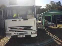 film location catering van setup