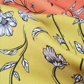 Pistacho, Naranjo y Caqui. Seda Saten Floral