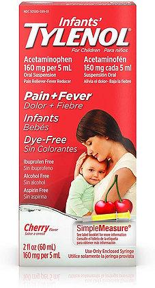 Infants' Tylenol Liquid with Acetaminophen, Pain + Fever Relief, Dye-Free Cherry