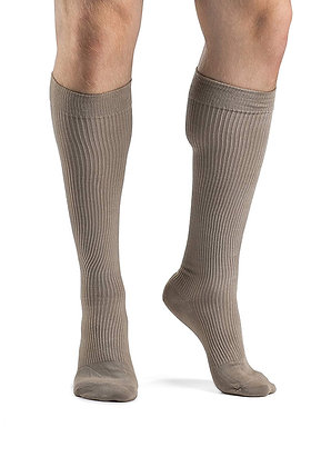 CASUAL COTTON Khaki Closed Toe Calf Compression Socks Knee-High 15-20mmHg