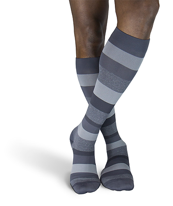 Graphite Stripe Sigvaris Microfiber Shades 15-20 mmHg Closed Toe Knee Highs