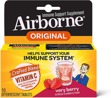 Vitamin C 1000mg - Airborne Very Berry Effervescent Tablets (10 count)