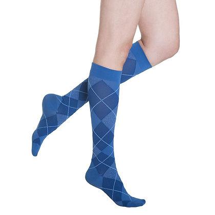 Royal Blue Argyle Sigvaris Microfiber Shades 15-20 mmHg Closed Toe Knee Highs