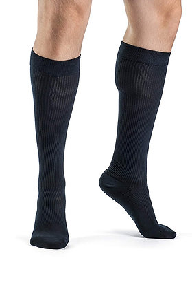 CASUAL COTTON Navy Closed Toe Calf Compression Socks Knee-High 15-20mmHg
