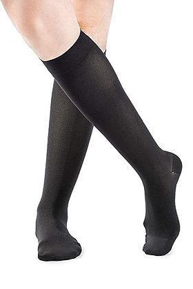 SOFT OPAQUE Women's Black Closed Toe Calf Compression Socks Knee High