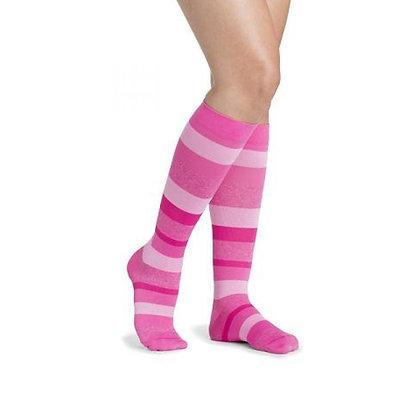 Pink Stripe Sigvaris Microfiber Shades 15-20 mmHg Closed Toe Knee Highs